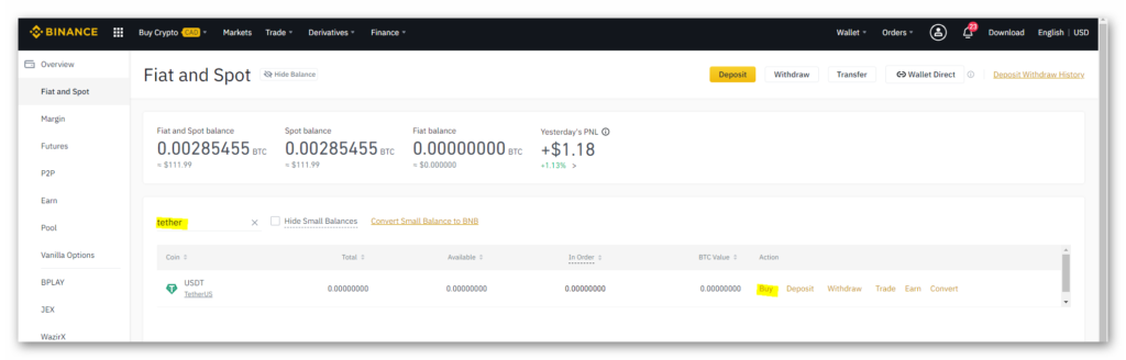 Select Tether from Binance